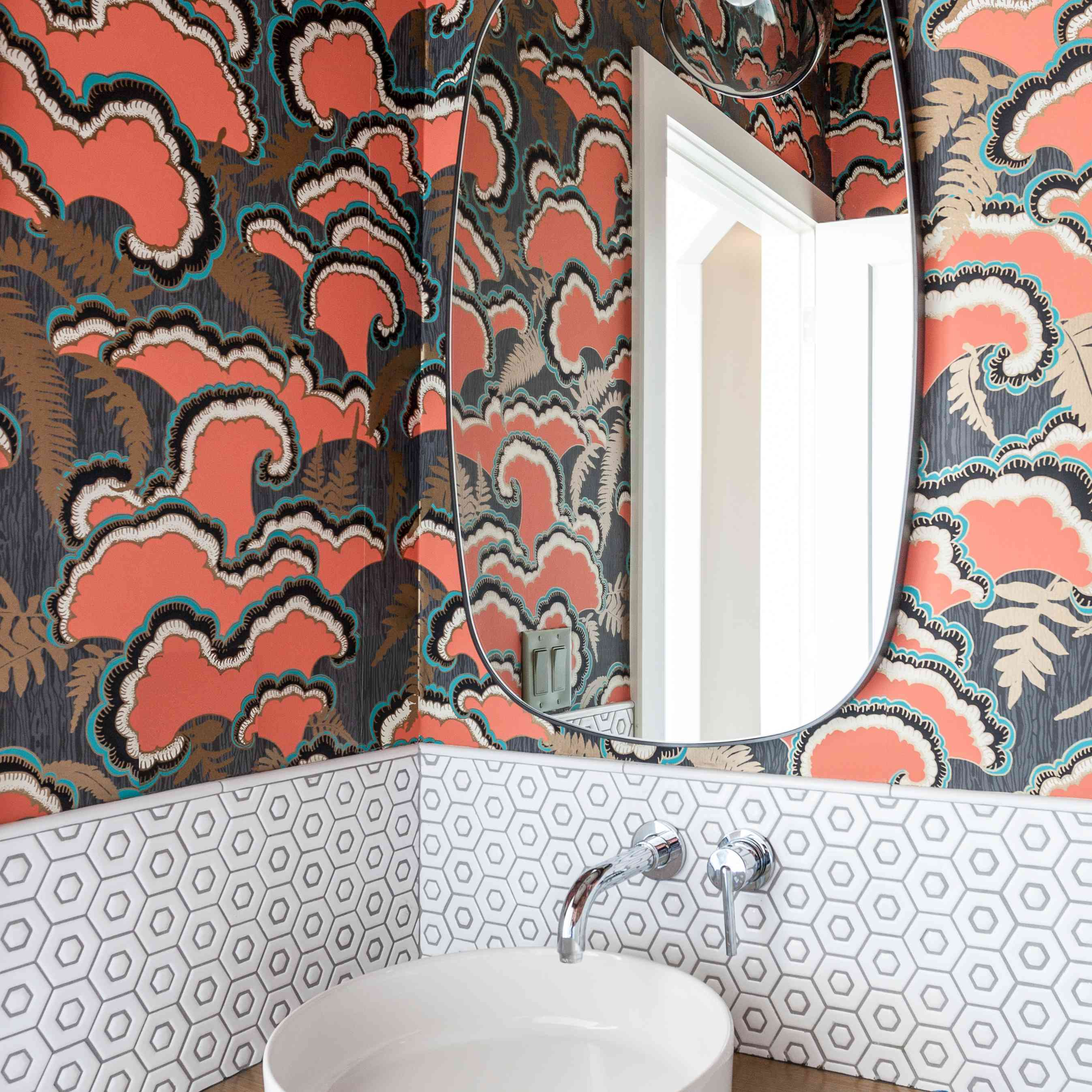 Groovy powder room wallpaper