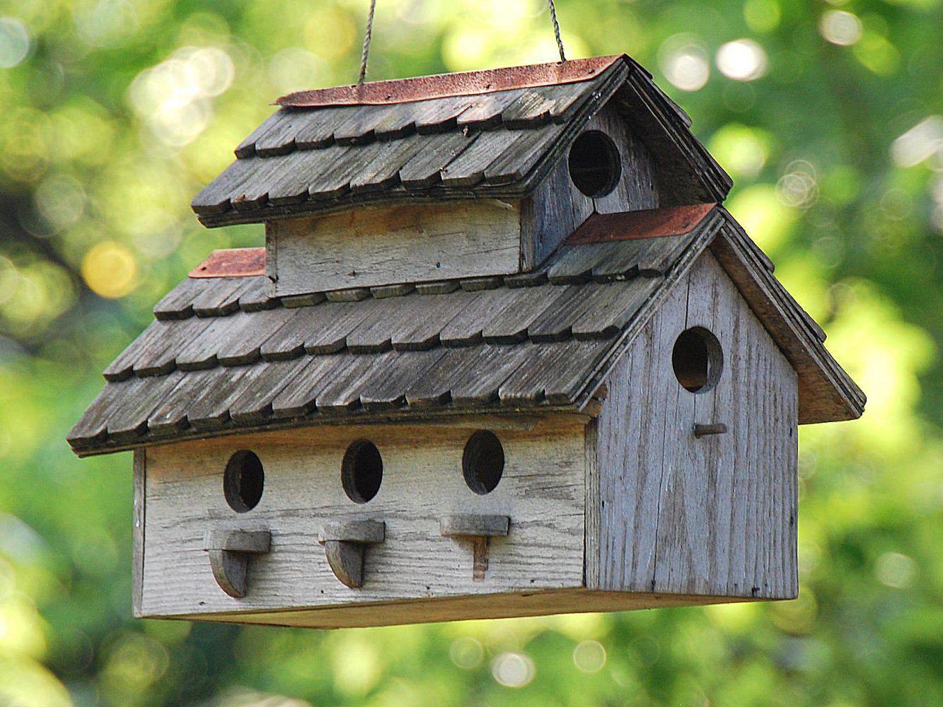 Handmade Wooden Birdhouse Box Nest Dox Tree Wood Bird House Owls Box Garden DIY