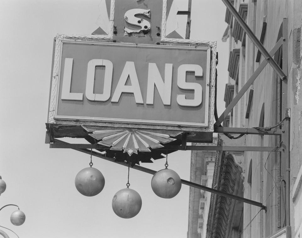 Loans commercial sign, close-up