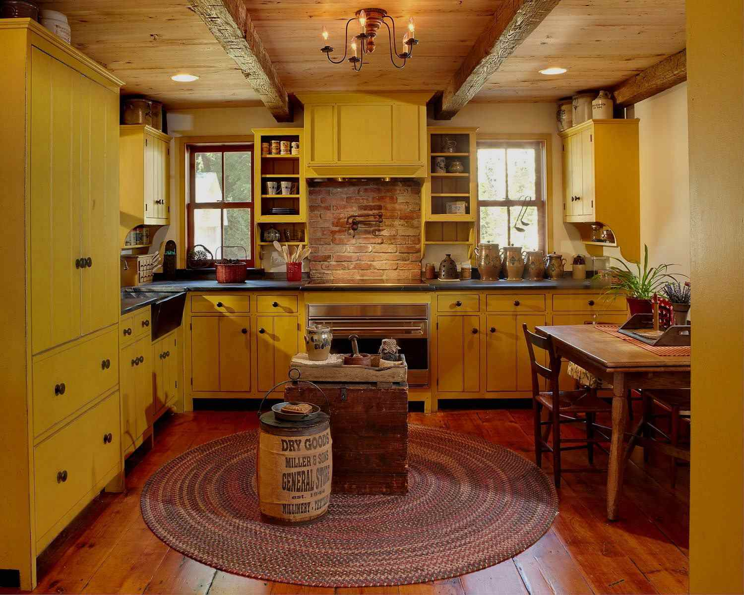 historic remodeled yellow kitchen