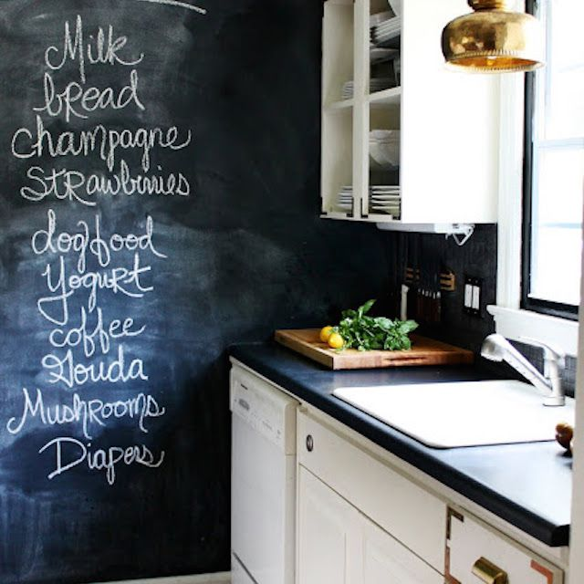 Kitchen with a chalkboard wall