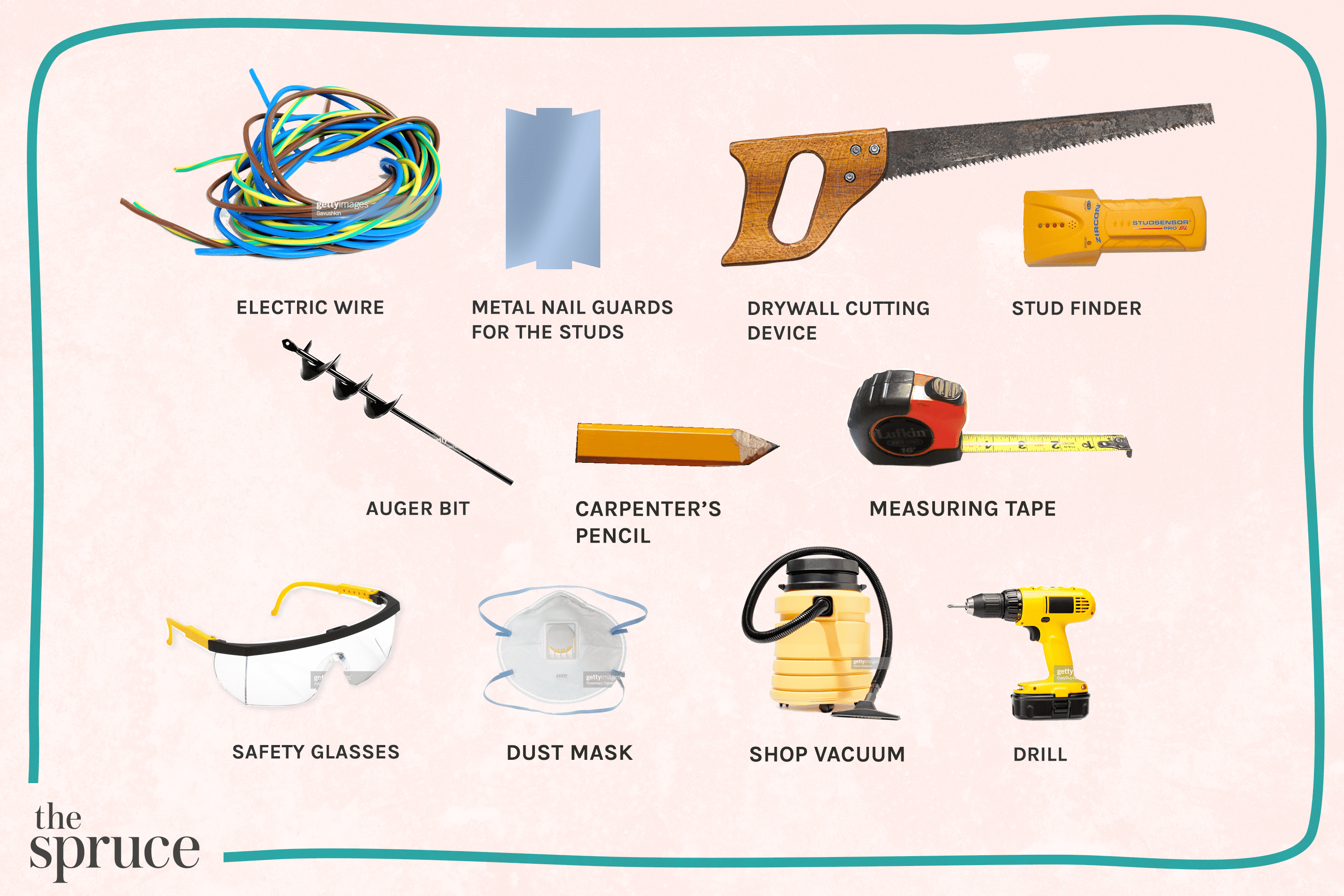 Materials and tools to run an electrical wire
