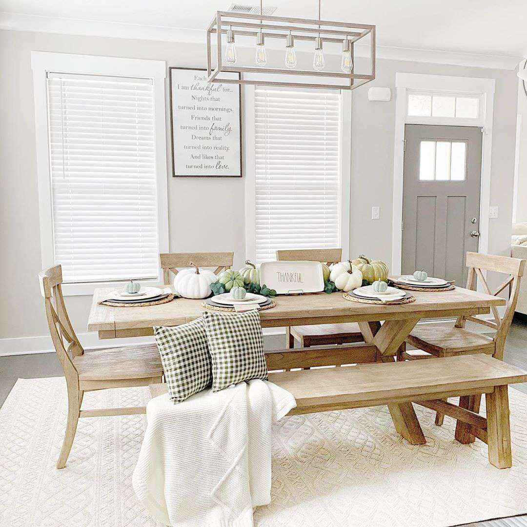 Dining room with rustic wood table
