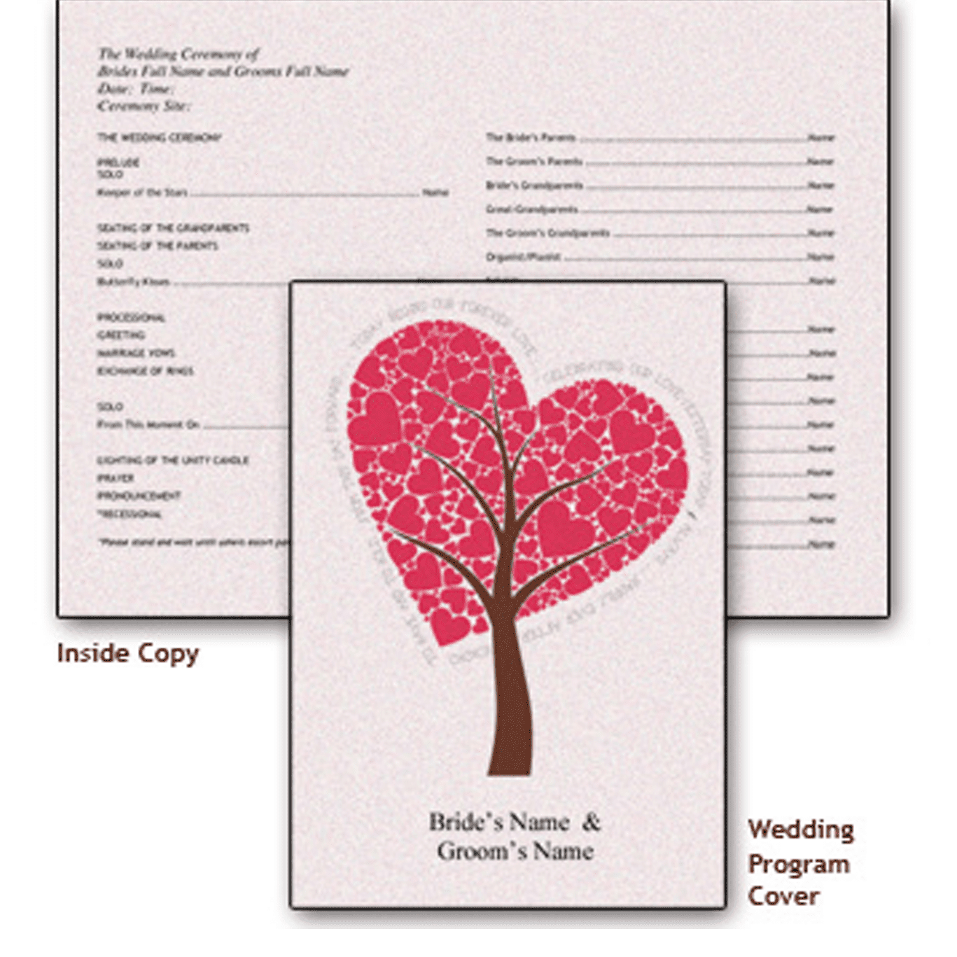 Picture Of A Free Wedding Program Template With Heart