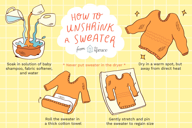 b8af63945 How to Unshrink a Shrunken Sweater