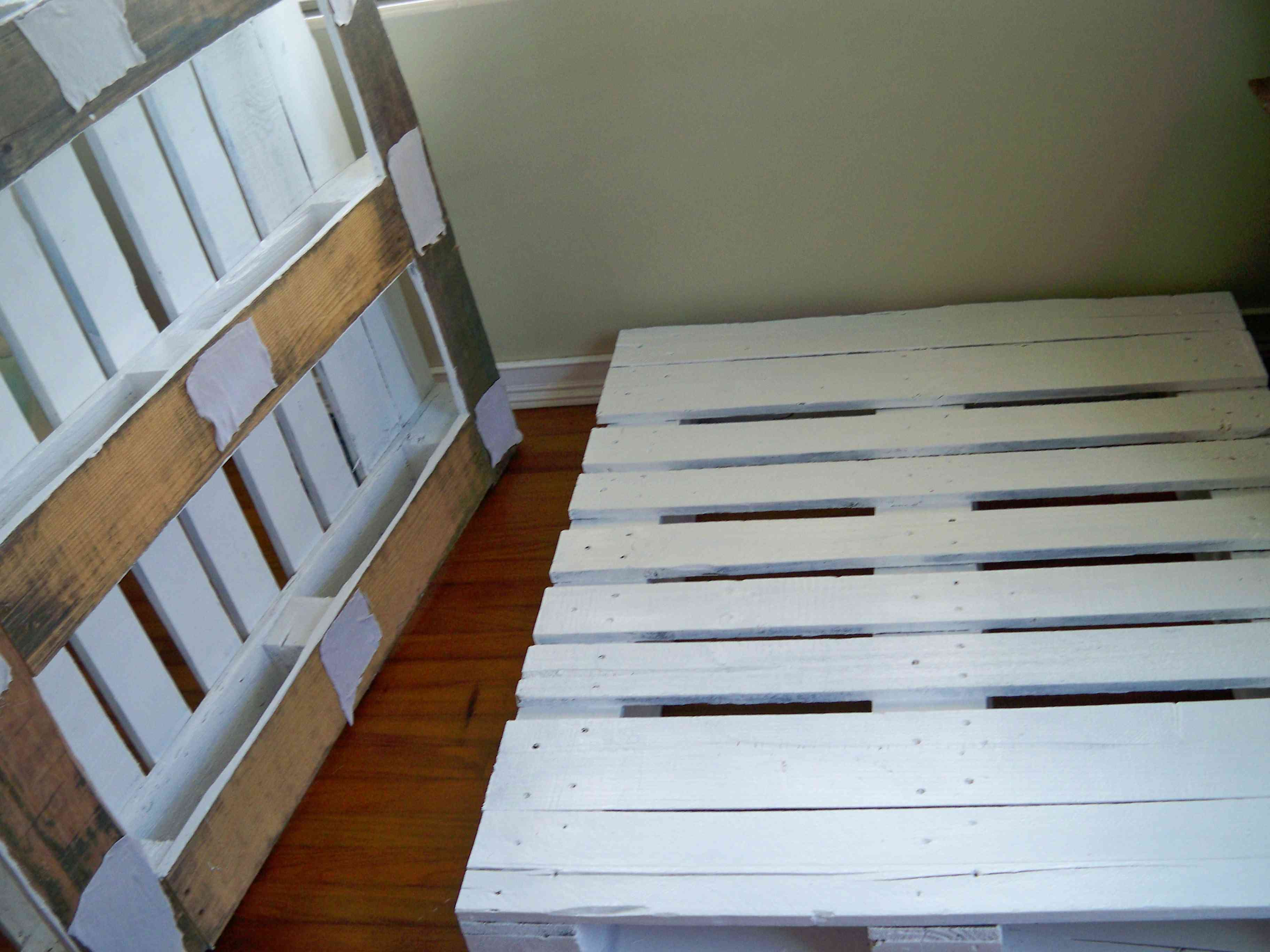 Two painted pallets