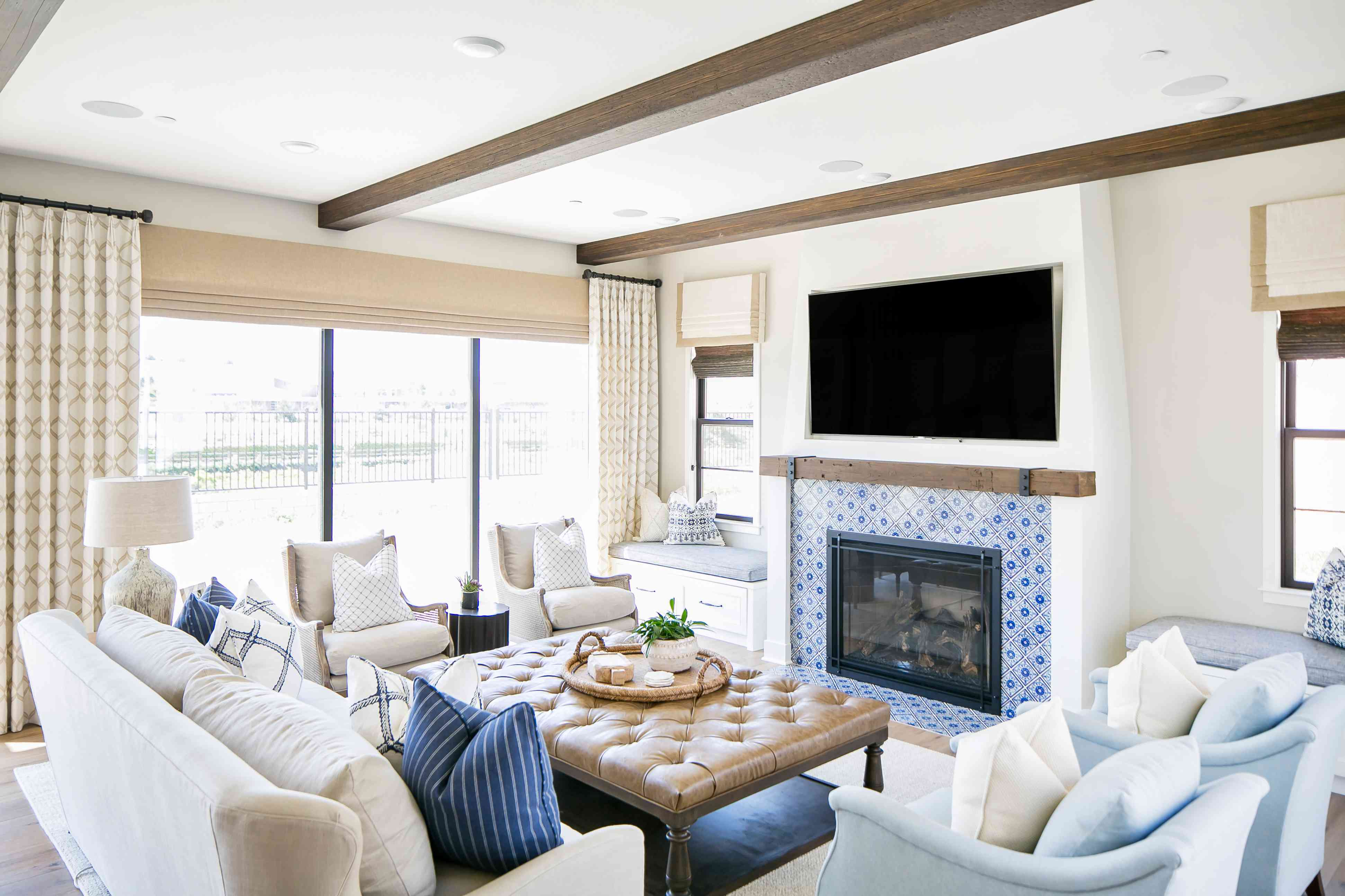 fireplace in Spanish Colonial home