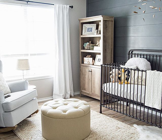 Rustic coastal nursery in Sherwin-Williams' Peppercorn SW 7674