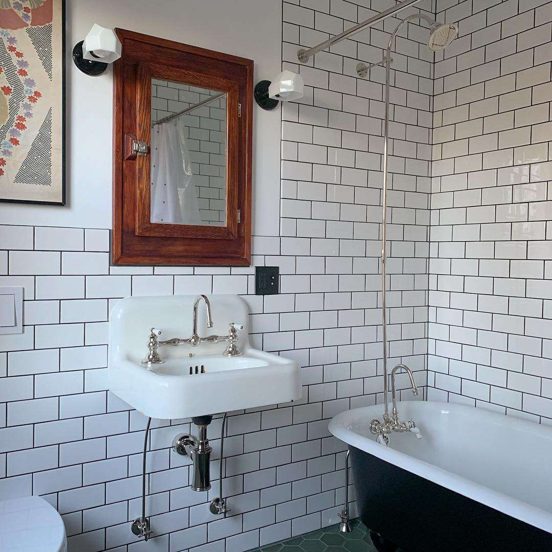 old house bathroom with subway tile