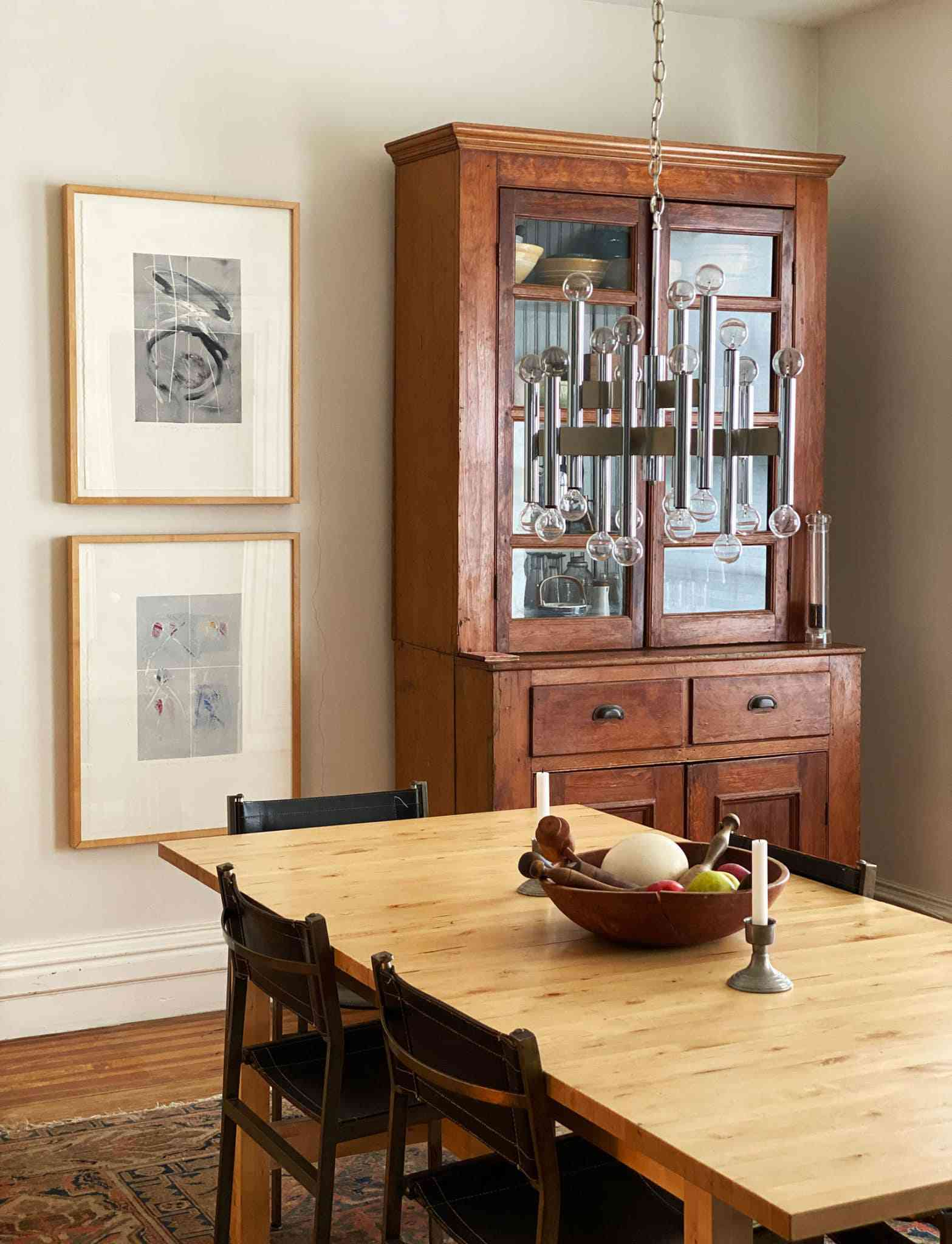 wooden hutch in dining room