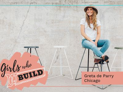 Greta De Parry poses on her famous Coleman Stools for Girls Who Build