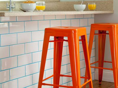 Turquoise Grout White Subway Tile