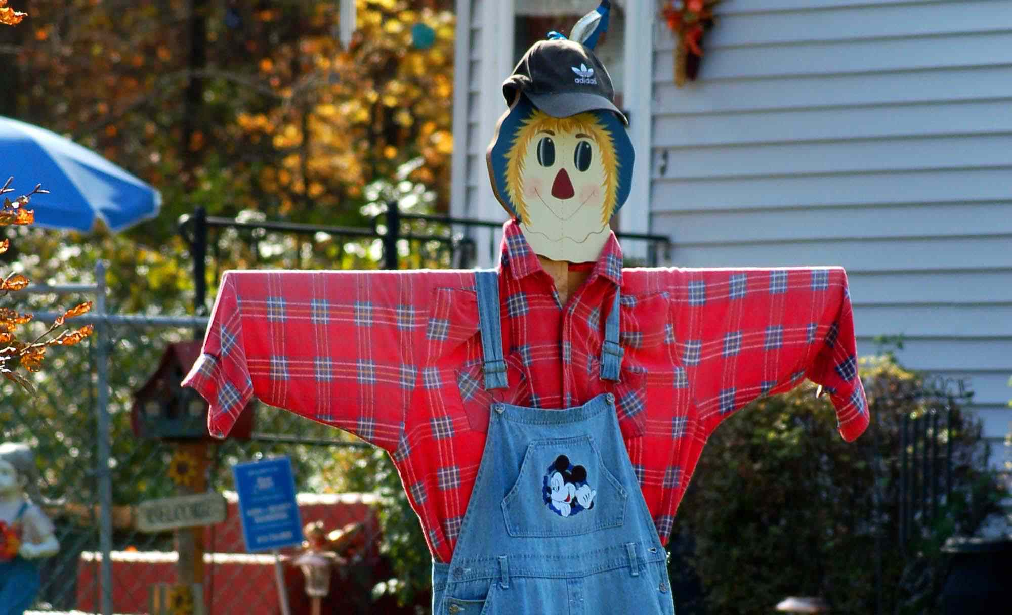 Scarecrow with a red checkered shirt on a wooden frame