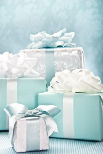 Wedding gifts in light blue boxes