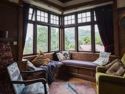 Cozy living room window seat