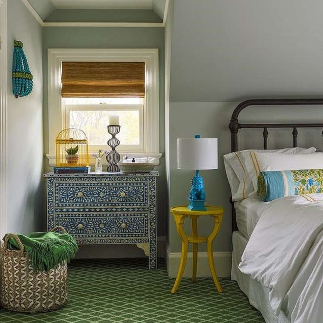 Green, yellow and blue bedroom