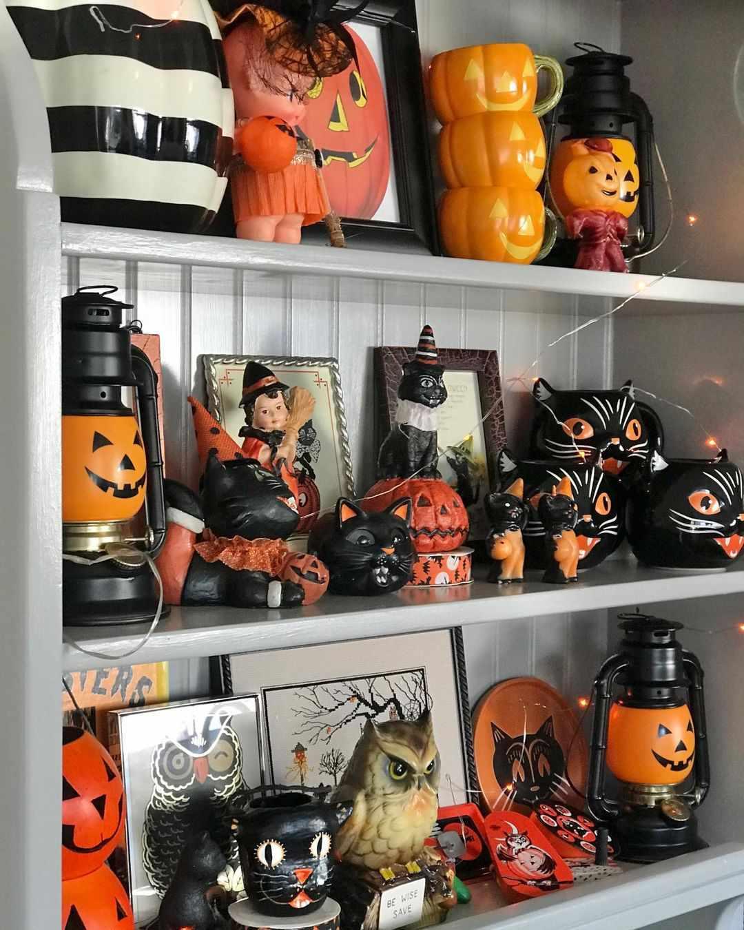 Shelves of retro pumpkins, cats and more.