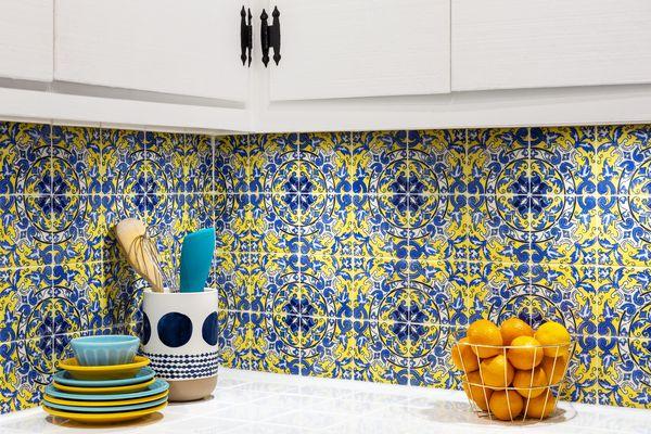 Spanish tiling in a kitchen as a backsplash