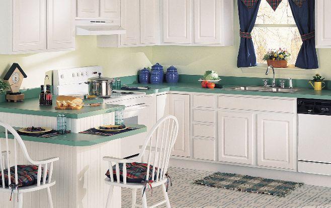 gabinetes de cocina de laminado blanco