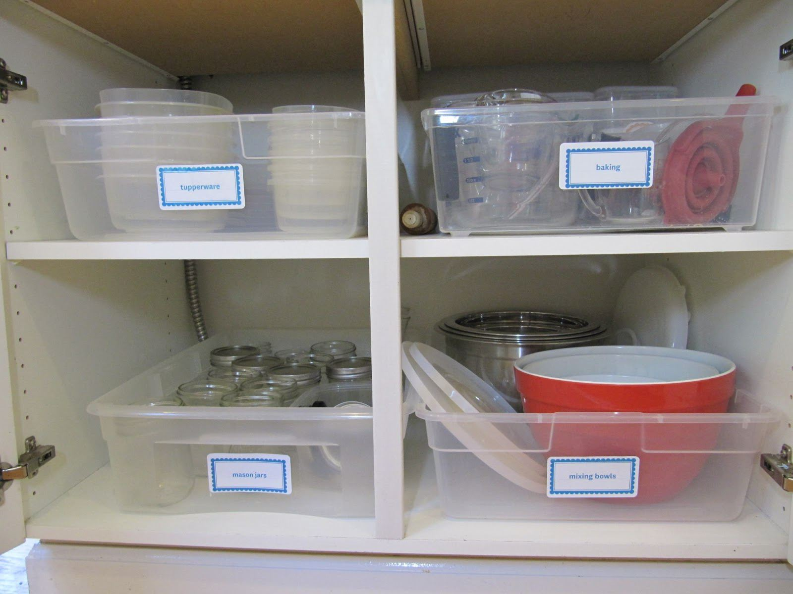 Long shallow bins to store kitchen accessories