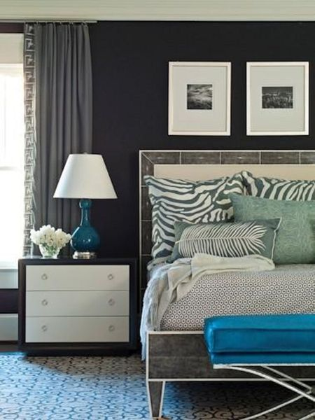 Black Blue Bedroom Walls