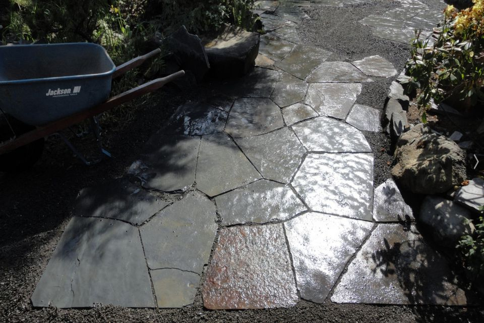 Polygonal Stone Walkway in Garden