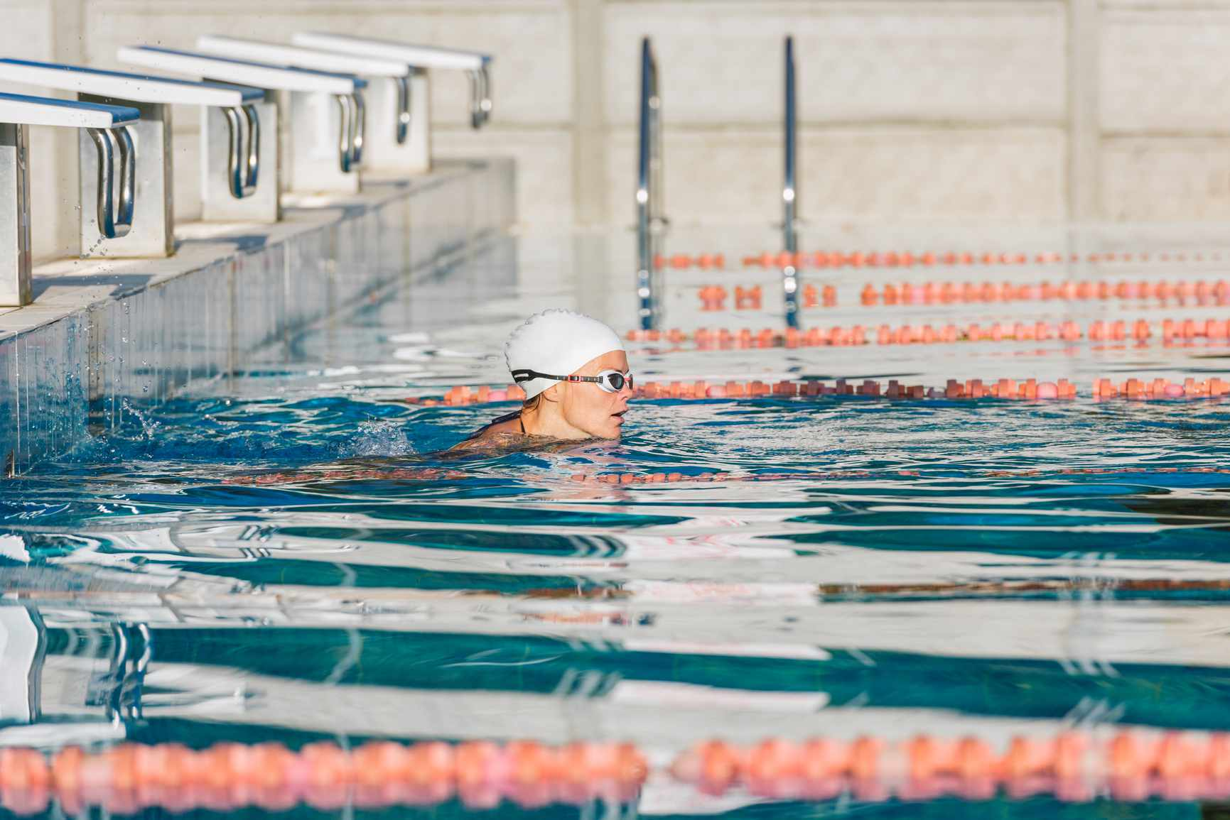a professional swimmer in competition