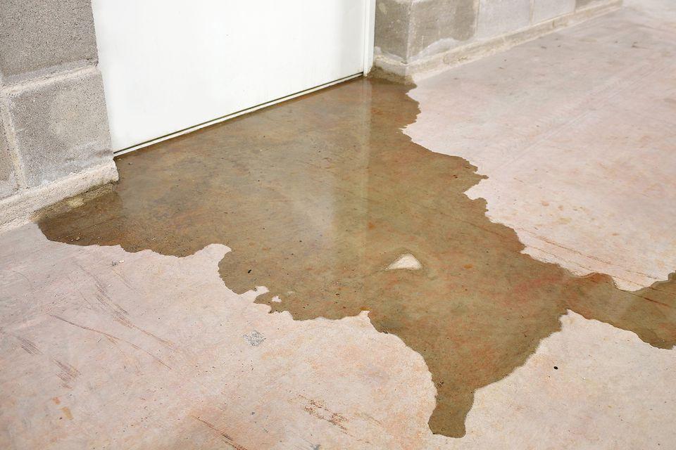 wet floor in a basement