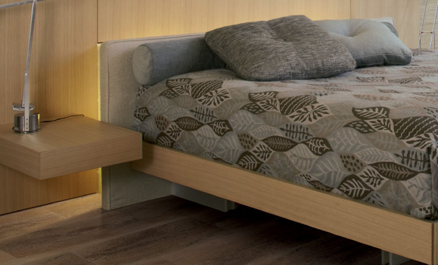 Wood floor and wood bed frame