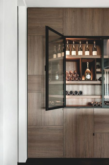 Home Bar In A Wall Unit