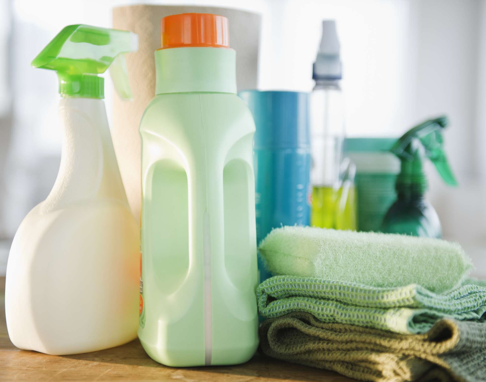 close-up of cleaning supplies