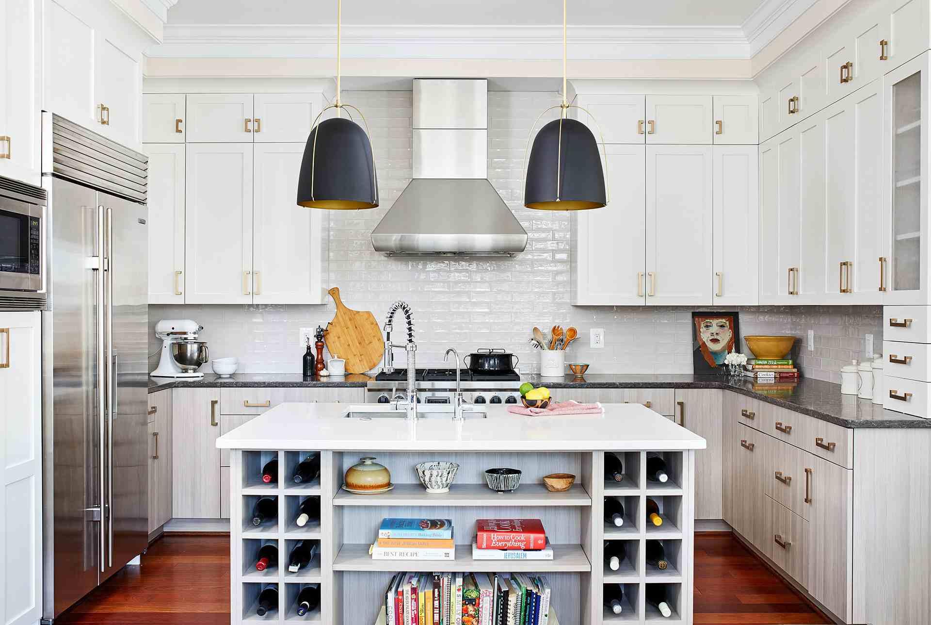 Quartz and Granite countertop in white kitchen
