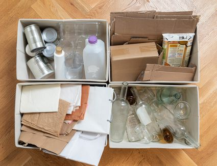 recyclables in boxes