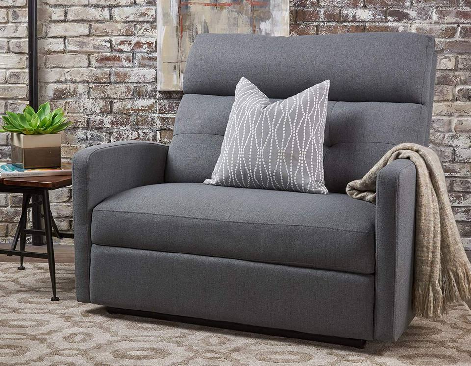 Hana Plush Cushion Tufted Back Loveseat Recliner (Fabric/Charcoal)