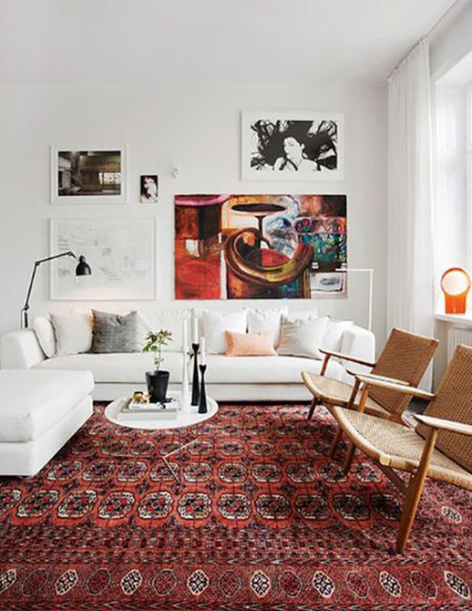 White couch in bold living room