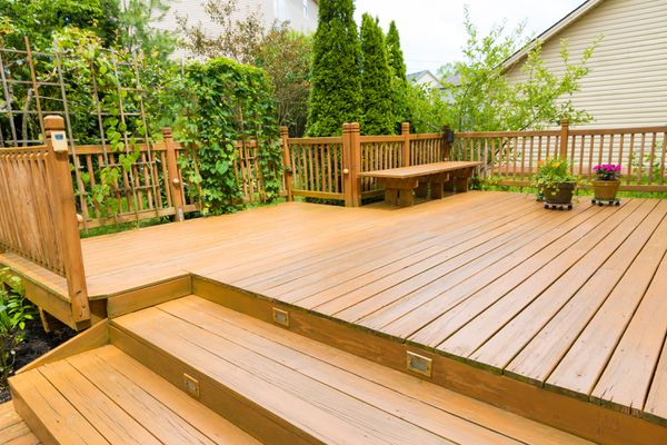 A large wooden deck surrounded by plantlife