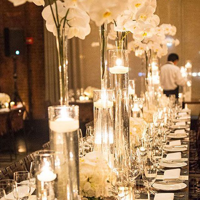 Timeless Orchid and Candle Winter Wedding Centerpiece