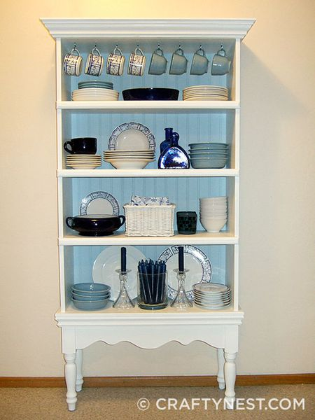 Bookcase Repurposed As A China Hutch