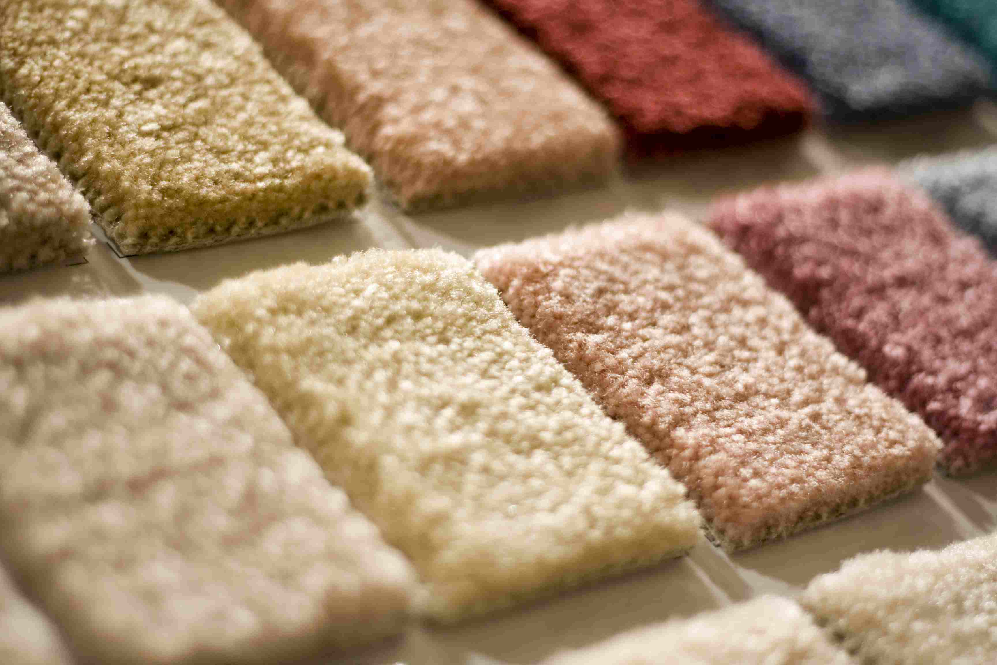 A carpet sample board viewed up-close