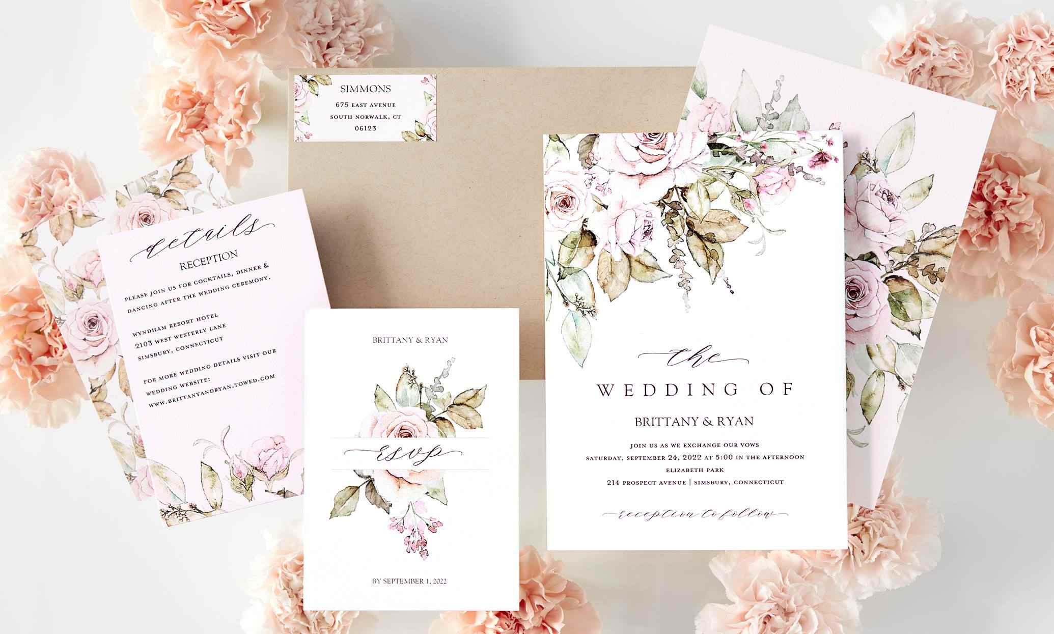 A set of wedding invitation samples with flowers