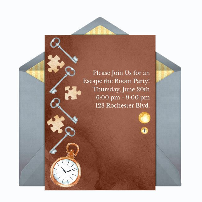 A brown escape room party online invite
