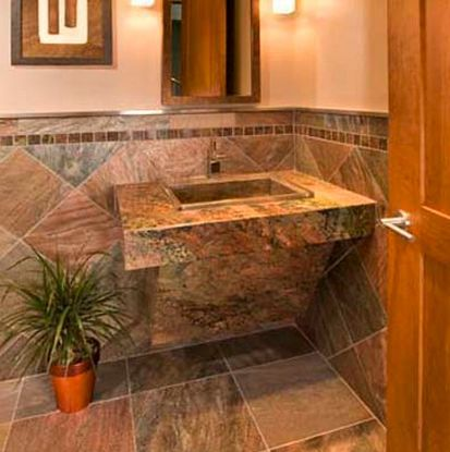 Small Bathroom Flooring Ideas Slate Or Other Natural Stone