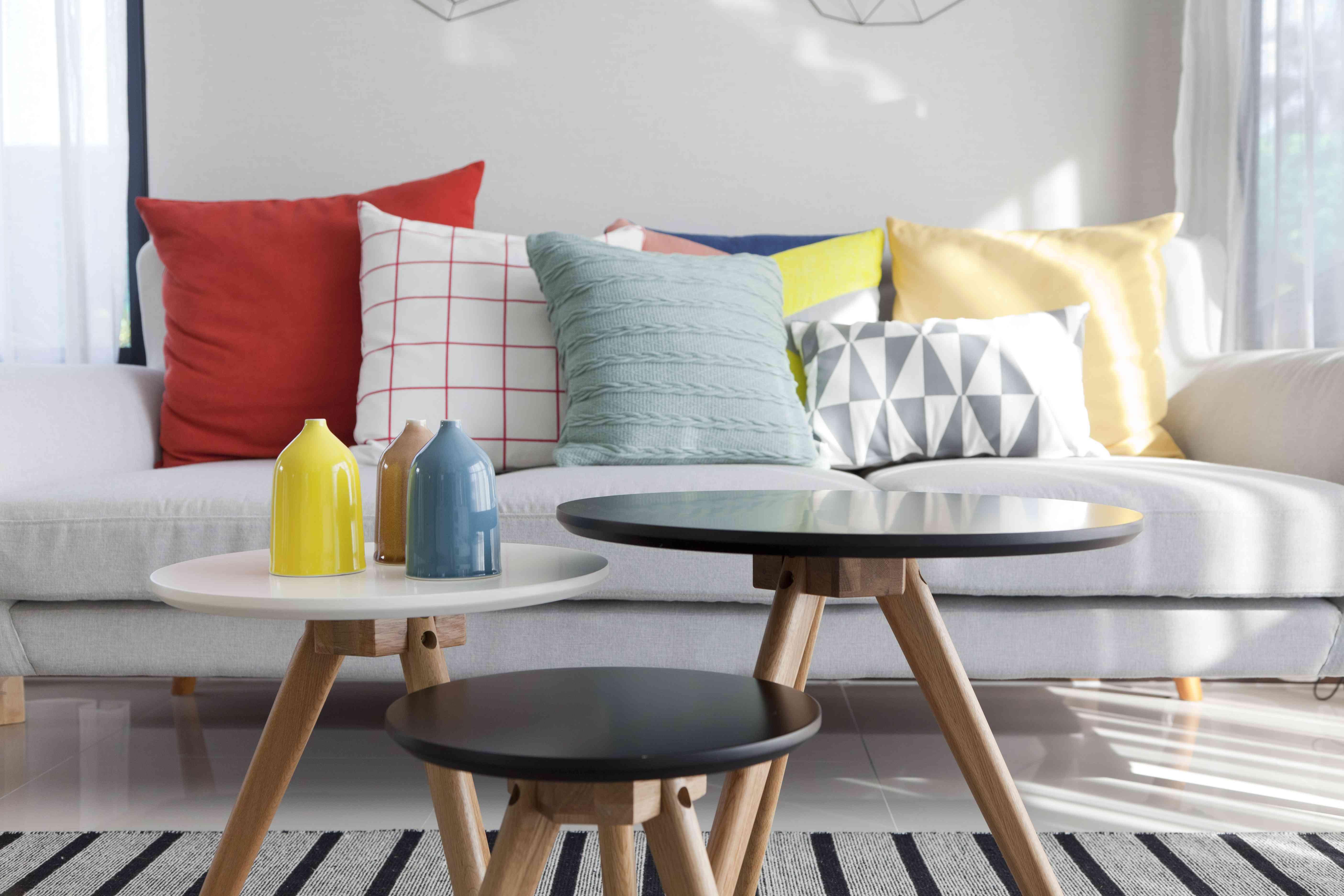 colorful cushion on sofa