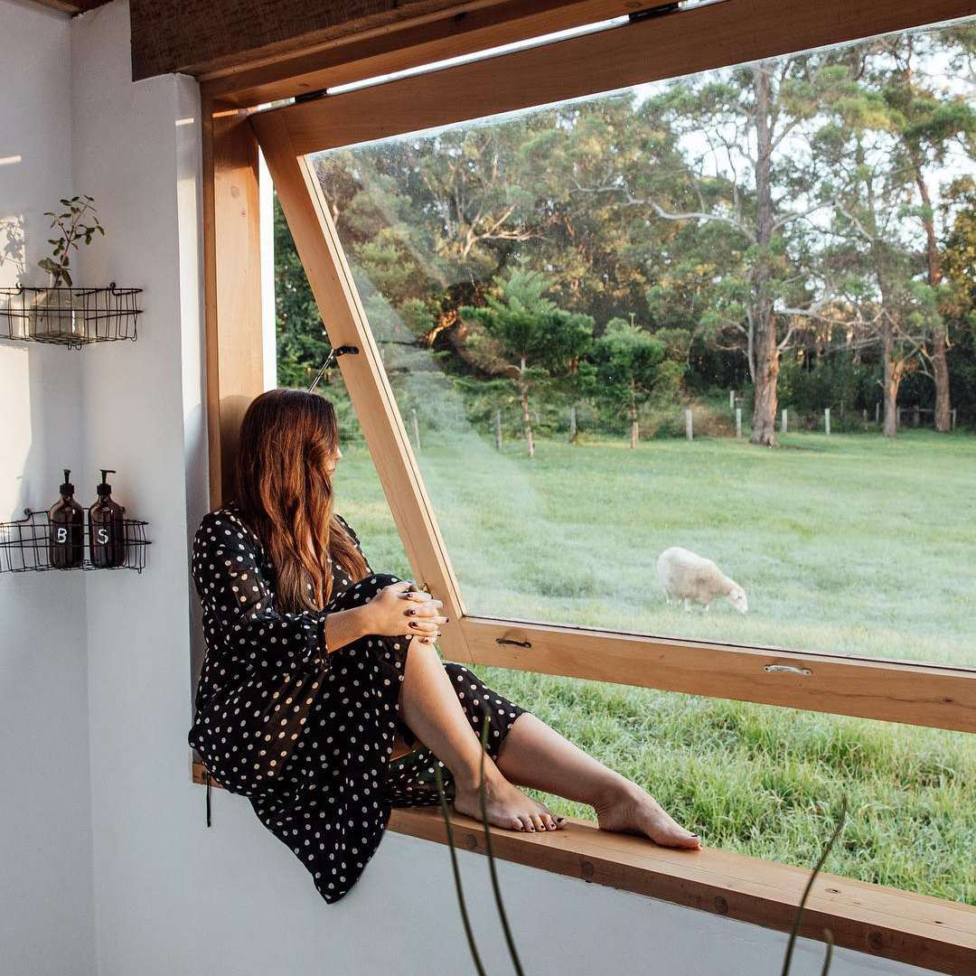 person sitting on a window sill looking out at a sheep
