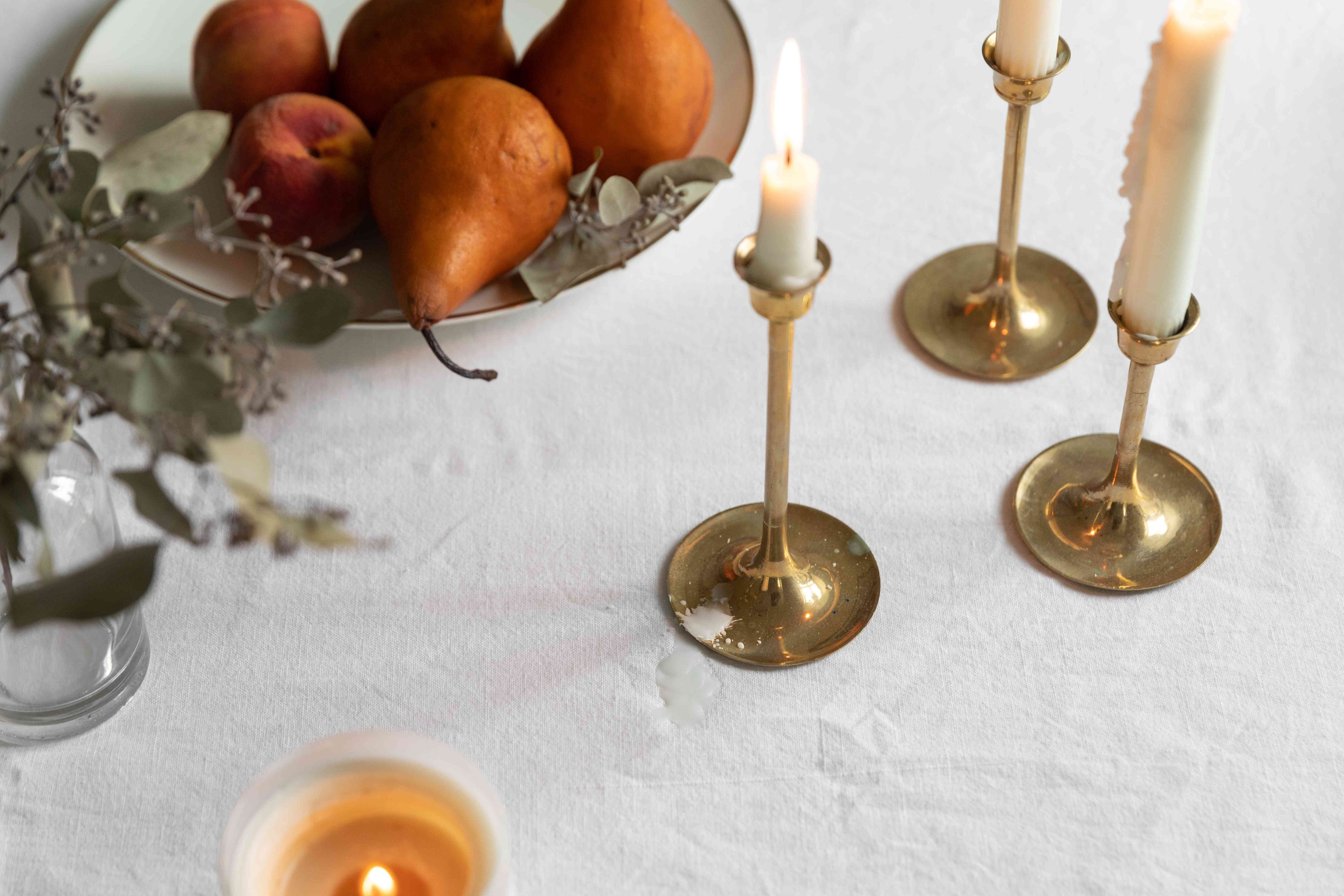 candlesticks on a dinner table