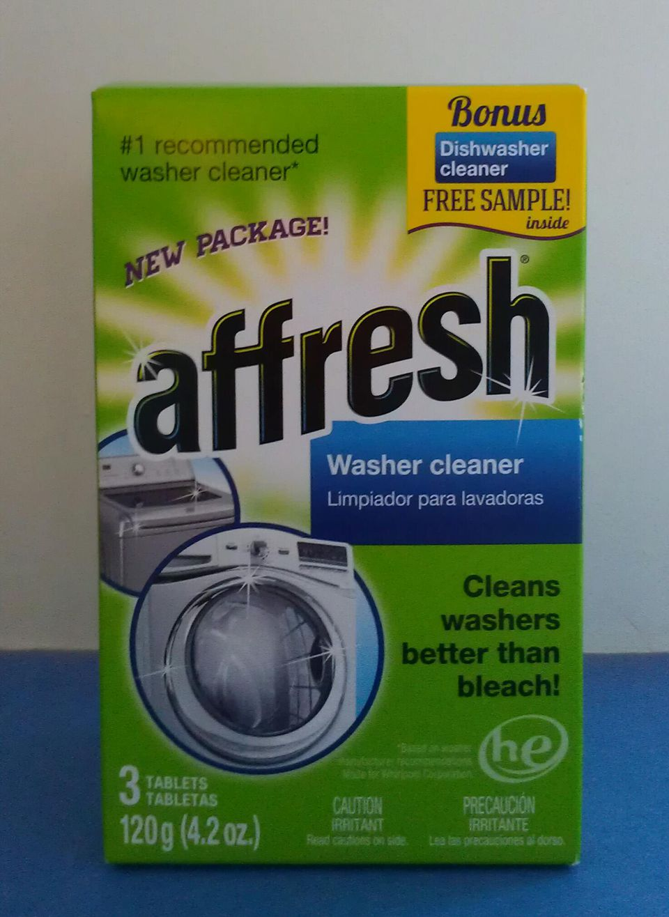 Box of Affresh Washer Cleaner.