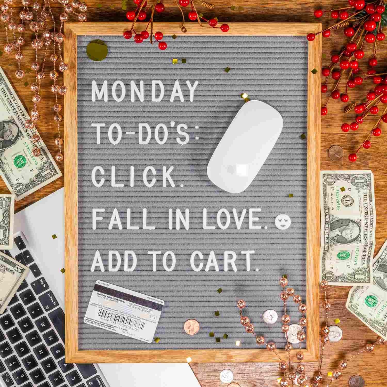 cita de la pizarra: lunes para hacer: haga clic. enamorarse. añadir al carrito.