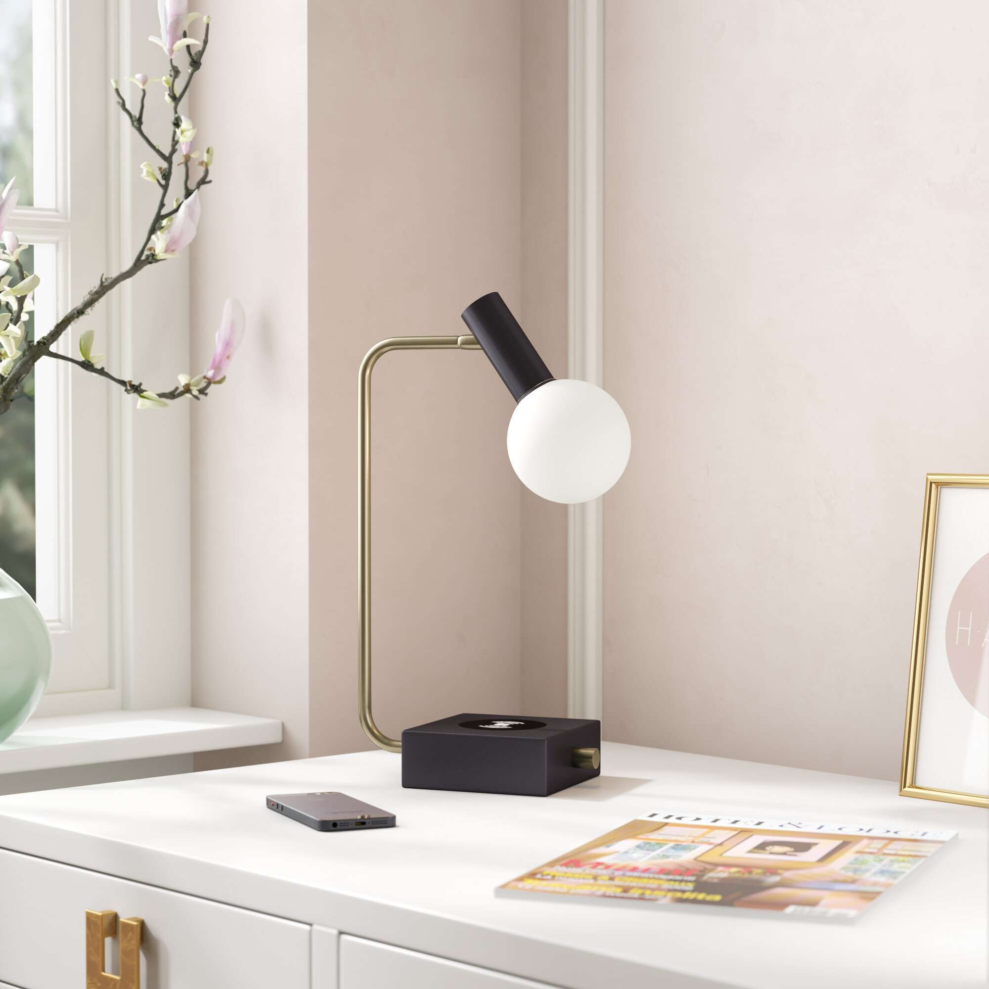 Mack & Milo Adorra Desk Lamp with USB and Outlet