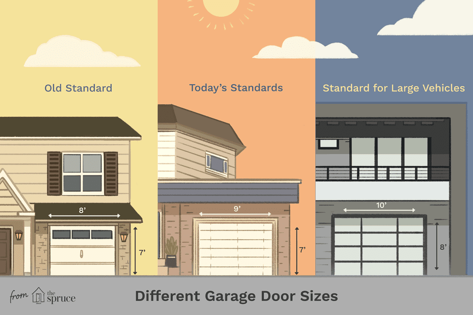 garage door sizes illustration