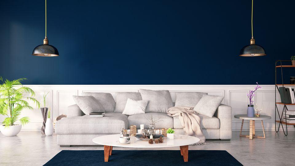Dar Blue Color Interior with Sofa